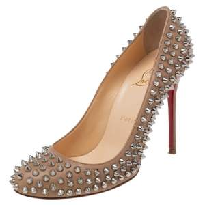 Christian Louboutin Beige Leather Fifi Spike Round Toe Pumps Size 38.5