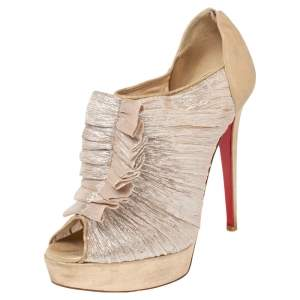 Christian Louboutin Beige Lurex Fabric And Suede  Peep Toe Booties Size 40.5