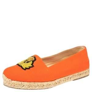 Christian Louboutin Orange Canvas Gala Embroidered Crest Espadrille Flats Size 35