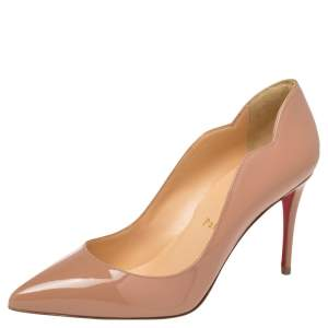 Christian Louboutin Beige Patent Leather Hot Chick  Pumps Size 36