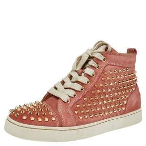 Christian Louboutin Peach Nubuck Spike Embellished Louis Orlato Mid Top Sneakers Size 38
