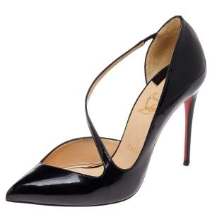 Christian Louboutin Black Patent Leather Jumping Cross Strap Pumps Size 39