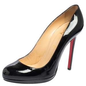 Christian Louboutin Black Patent Leather New Simple Pumps Size 40