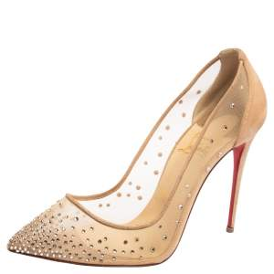 Christian Louboutin Beige Mesh and Suede Follies Strass Pointed Toe Pumps Size 39