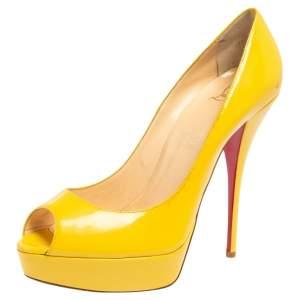 Christian Louboutin Yellow Patent Leather Lady Peep Toe Platform Pumps Size 41