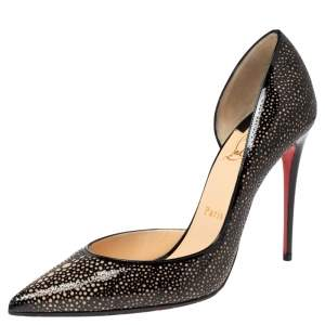 Christian Louboutin Black Patent Leather and Suede Galupump D'Orsay Pumps Size 38