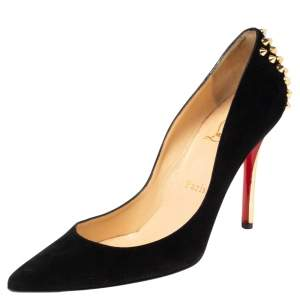 Christian Louboutin Black Suede Zappa Pointed Toe Pumps Size 37.5