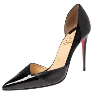 Christian Louboutin Black Patent Leather and Suede Tac Clac Pumps Size 38