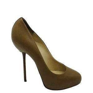 Christian Louboutin Brown Leather Round-Toe Pumps Size 40 (UK 7)