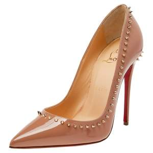 Christian Louboutin Beige Patent Leather Anjalina Pointed Toe Pumps Size 36.5
