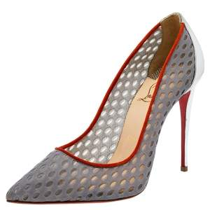 Christian Louboutin Grey Mesh And Leather Follies Resille Pointed Toe Pumps Size 36.5