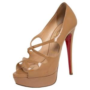 Christian Louboutin Beige Patent Leather Mademoi Crisscross Peep Toe Pumps Size 36.5
