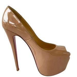 Christian Louboutin Beige Patent Leather Daffodil Peep Toe Platform Pump Size 37