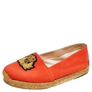 Christian Louboutin Orange Canvas Gala Embroidered Crest Espadrille Flats Size 36
