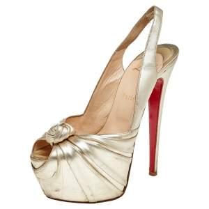 Christian Louboutin Gold Leather Jenny Knotted Platform Slingback Sandals Size 38