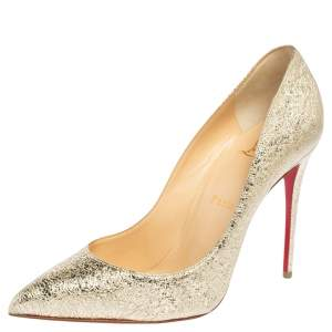 Christian Louboutin Metallic Gold Crinkled Leather  Pigalle Follies Pumps Size 38.5