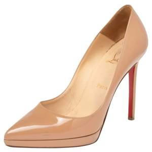 Christian Louboutin Beige Patent Leather Pigalle Plato Pumps Size 37