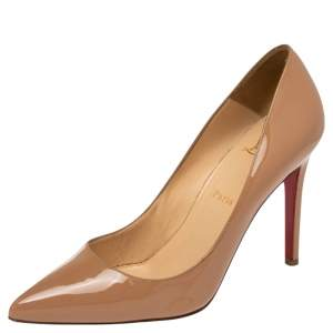 Christian Louboutin Beige Patent Leather Pigalle Pumps 38.5
