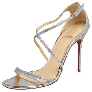Christian Louboutin Silver Glitter Gwynitta Open Toe Sandals Size 41