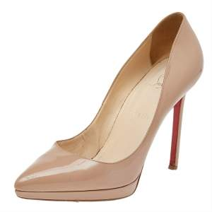 Christian Louboutin Beige Patent Leather Pigalle Plato Pointed Toe Pumps Size 41