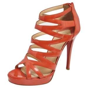 Christian Louboutin Orange Patent Leather Fernando Caged Sandals Size 39.5