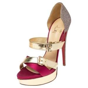 Christian Louboutin Multicolor Glitter, Satin and Leather Ambertina Platform Sandals Size 39