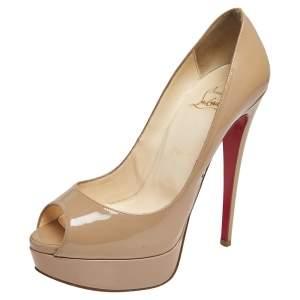 Christian Louboutin Beige Patent Leather Lady Peep Toe Pumps Size 38.5