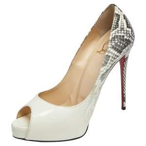 حذاء كعب عالي كريستيان لوبوتان فيري بريف جلد لامع أبيض مقاس 37.5