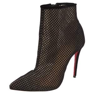 Christian Louboutin Black Suede And Mesh Zipper Detail Ankle Boots Size 37
