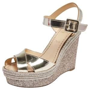 Christian Louboutin Gold Leather Almeria Espadrille Wedge Sandals Size 36