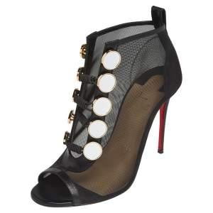 Christian Louboutin Black Mesh And Leather Marita Booties Size 36.5