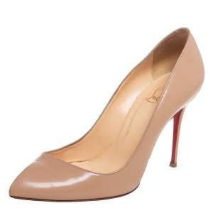 Christian Louboutin Beige Leather Corneille Pointed Toe Pumps Size 35