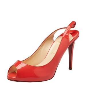 Christian Louboutin Orange Patent Leather Peep Toe Sling Back Sandals Size 38