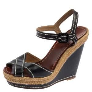 Christian Louboutin Black Leather Almeria Sandals Size 38