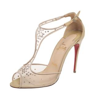 Christian Louboutin Beige Mesh And Patent Leather Patinana T-Strap Peep Toe Sandals Size 39.5