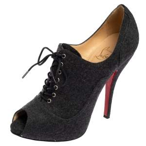 Christian Louboutin Grey Lace Up Flannel Lady Derby120mm Ankle Booties Size 37