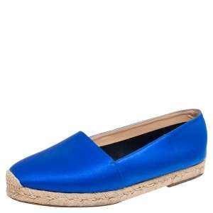 Christian Louboutin Blue Satin Espachica Espadrilles Flats Size 38