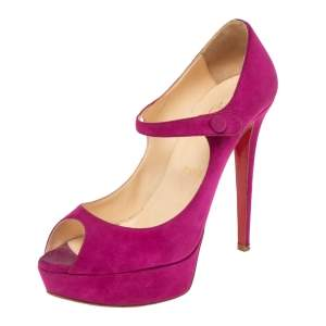 Christian Louboutin Pink Suede Bana Mary Jane Platform Pumps Size 38.5