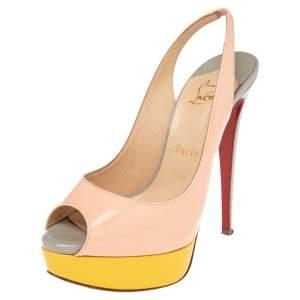 Christian Louboutin Tricolor Patent Leather Lady Peep Toe Platform Slingback Sandals Size 38