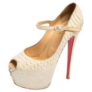 Christian Louboutin White Matte Python Lady Highness Peep Toe Pumps Size 38.5