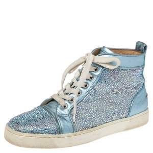 Christian Louboutin Light Blue Leather Crystals Embellished Louis Orlato High Top Sneakers Size 38