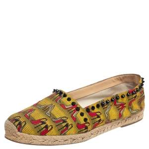 Christian Louboutin Multicolor Canvas Ares Spiked Espadrilles Flats Size 39
