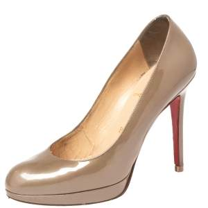 Christian Louboutin Olive Green Patent Leather New Simple Pumps Size 35