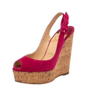 Christian Louboutin Red Suede Une Plume Peep Toe Slingback Cork Wedges Size 37