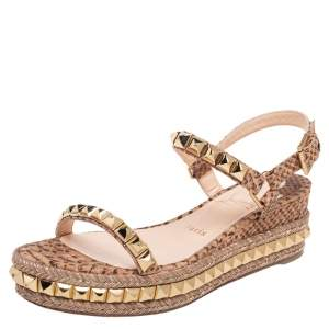 Christian Louboutin Beige Python Embossed Leather Cataclou Espadrille Wedge Sandals Size 38