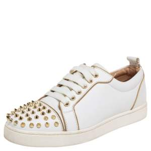 Christian Louboutin White/Gold Leather Louis Junior Spikes Sneakers Size 37