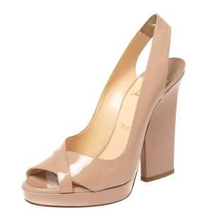 Christian Louboutin Beige Patent Leather Marpoil Peep Toe Platform Slingback Sandals Size 38