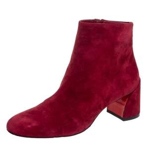 Christian Louboutin Maroon Suede Turela Ankle Boots Size 37
