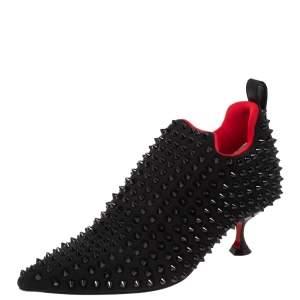 Christian Louboutin Black Neoprene Spike Embellished Partez Boots Size 37.5