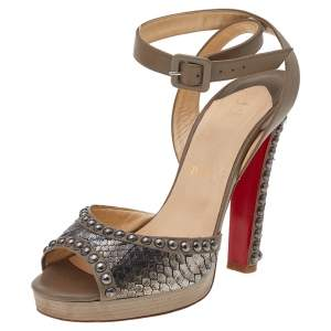 Christian Louboutin Taupe Snakeskin and Leather Zobra Platform Sandals Size 37.5
